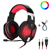 Gaming Headset with Mic for PC Mac Laptop PS4 Xbox one Nintendo Surround Stereo Sound One Key Mute Sound Breathing USB LED Light Noise Reduction (Color: Black & Red)