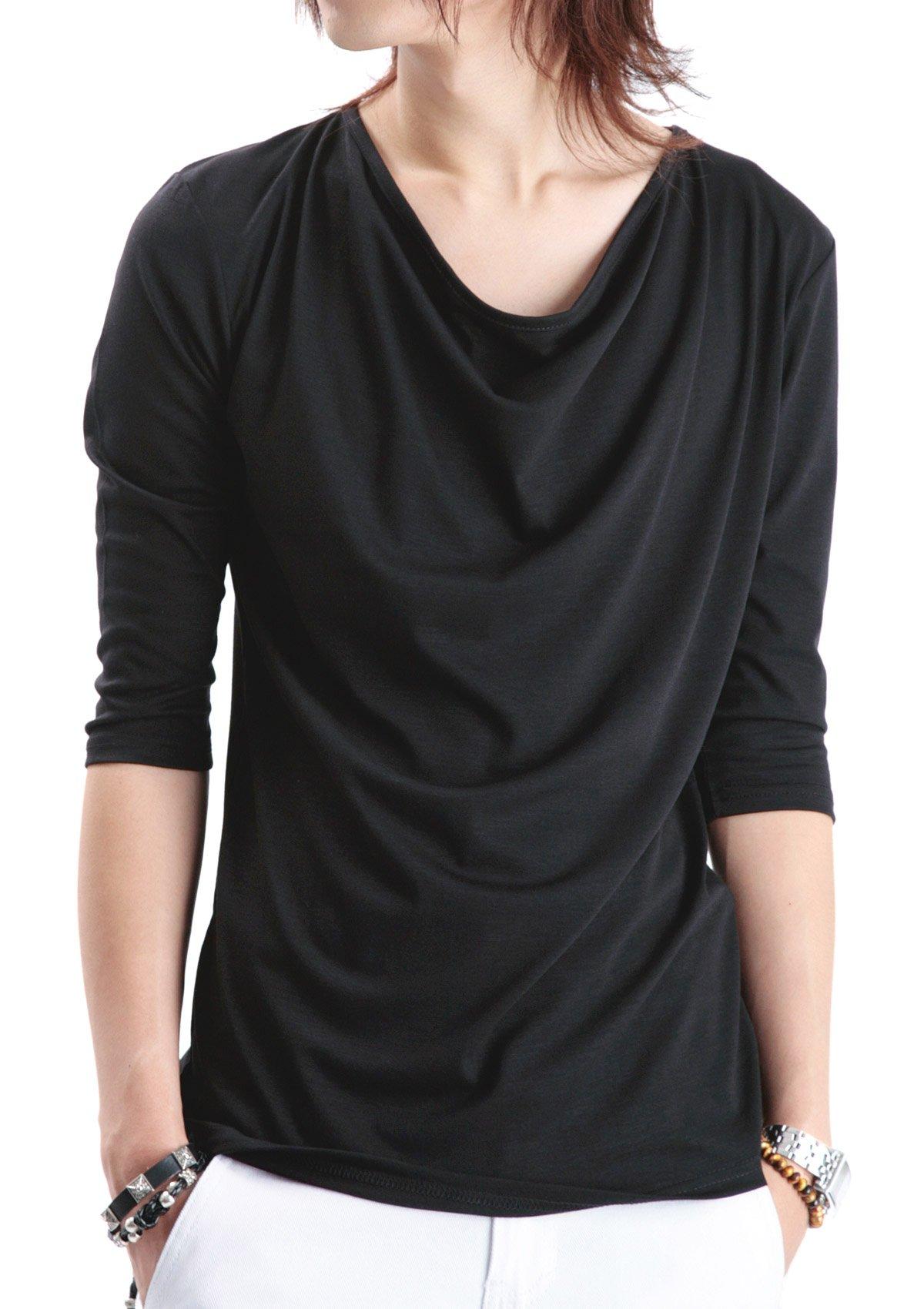 (ロシェル)roshell ドレープ7分袖Tシャツ メンズ Tシャツ メンズ カットソー メンズ