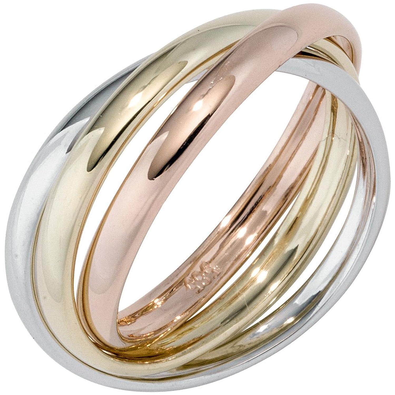Damen Ring 585 Gelbgold Weißgold Rotgold tricolor dreifarbig Goldring ( Gold Ringe ) Größe : 54 (17.2) schenken