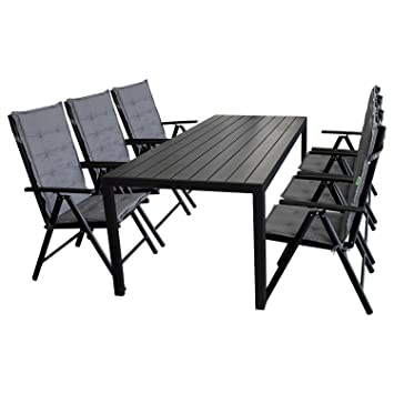 13tlg. Sitzgruppe Gartenmöbel Terrassenmöbel Set Sitzgarnitur Gartengarnitur Polywood 205x90cm + 6x Hochlehner, Lehne 7-fach verstellbar, 2x2 Textilenbespannung + 6x Sitzpolsterauflage