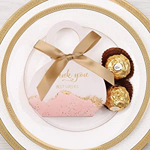 Doris Home 50 pcs Birthday Wedding Party Favor, Wedding Gift Bags Chocolate Candy and Gift Boxes Bridal Shower Party Paper Gift Box Pink Boxes with Ribbons (Pink 2.5x3x1.3 inch) (Color: Pink 2.5x3x1.3 Inch)