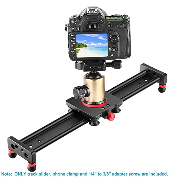 NEEWER CAMERA SLIDER ALEACIÓN DE ALUMINIO CARRIL DEL CARRO, 16 pulgadas/40 centímetros con 4 rodamientos para smartphone Cámara Nikon Canon Sony, carga de hasta 12 libras/5.44 kilogramos