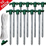 ABCCANOPY Tent Stake Pegs Garden Stake, 10pcs Galvanized Non-Rust 10'' Pop up Pergolas Canopy Accessories Gazebo Accessories Peg Stakes Orange Stopper Bonus 4pcs 10ft Ropes & 1 PVC top (Color: 10 Pcs Tent Stakes with Ropes Green)