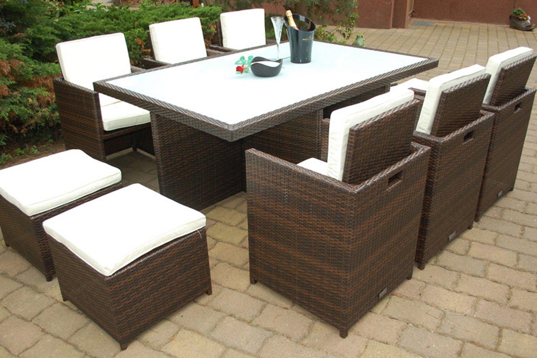 Gartenmöbel PolyRattan Essgruppe Tisch mit 6 Stühlen & 4 Hocker DEUTSCHE MARKE — EIGNENE PRODUKTION Garten Möbel incl. Glas und Sitzkissen Ragnarök-Möbeldesign braun jetzt kaufen