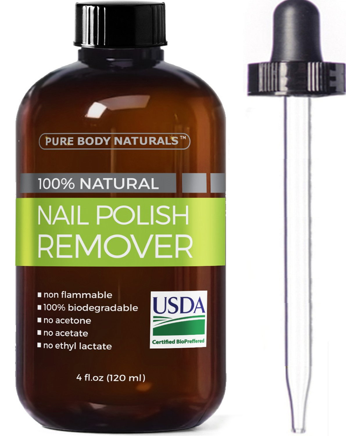 Nail Polish Remover 100% Natural - USDA Bio-certified Non-Toxic, Acetone-Free Nail Polish Remover, Effective UV Gel Nail Polish Remover Won