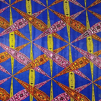 African Print Fabric Cotton Print Affix Blue 44'' wide By The Yard Blue Fuchsia Orange Red Yellow