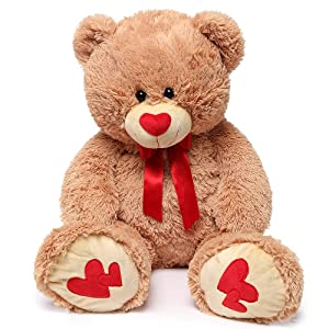 MaoGoLan Giant Teddy Bear Large Stuffed Animals Plush Big Bear with Love Heart for Girlfriend Children Christmas Valentines Day 35 Inch, Light Brown (Color: Loving Bear-35'', Tamaño: 35 inch)