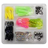 JSHANMEI JSHANMEI Soft Fishing Lure Set Lead Jig Head Hook Grub Worm Soft Fishing Lures Soft Baits Shads Plastic Fish Lure Set Tackle Pesca 48pcs/lot