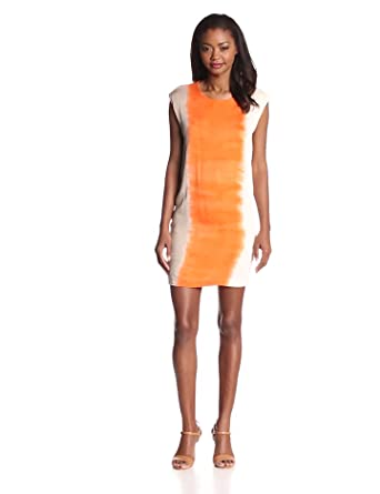 Young Fabulous & Broke Women's Roosevelt Slit Back Side Ombre Dress, Orange, Small