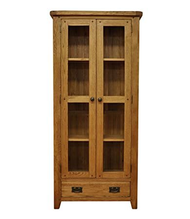 Buxton Oak 1 Drawer 2 Door Glazed Display Cabinet in Waxed Oak Finish | Wooden Storage Cupboard