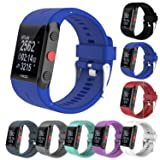 StrapsCo Silicone Rubber Replacement Band Strap for Polar V800 GPS Sports Watch (Color: Blue)