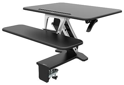CrystalTec Of103dm Pupitre réglable ergonomique 80cm x 52cm Sit et support ordinateur de bureau station de travail avec support de tablette