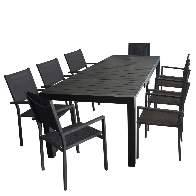 9tlg. Gartengarnitur - Gartentisch ausziehbar 205/275x100cm, Polywood Tischplatte + 8x Aluminium Stapelstuhl, 4x4 Textilenbespannung - schwarz / Sitzgarnitur Sitzgruppe Gartenmöbel Terrassenmöbel