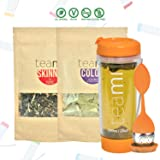 30 Day Detox Tea Kit for Teatox & Weight Loss to get a Skinny Tummy by Teami Blends   Our Best Colon Cleanse Blend to Raise Energy, Boost Metabolism, Reduce Bloating! (Big Orange Tumbler & Infuser) (Tamaño: Kit + 600ML Tumbler)