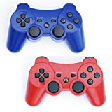 PS3 Controller Wireless 2 Pcs Double Shock Gamepad for Playstation 3, Sixaxis wireless PS3 Controller (Red + Blue) (Color: Red + Blue)