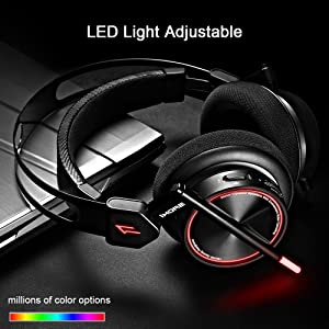 1MORE Spearhead VR Gaming Over-Ear Headphones Comfortable Headset with Super Bass, 7.1 Stereo Surround Sound, Dual Mic Noise Cancellation and LED Light for PC/PS4/XBOX/Smartphones - Black (Color: Black, Tamaño: Various)