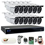 GW 5 Megapixel HD 1920P Complete Security System | (12) x 5MP Outdoor 3.3-12mm Varifocal Zoom Bullet Security Cameras, 16-Channel Plug and Play 5-In-1 DVR, True 5MP Double the resolution of 2MP 1080P (Color: White, Tamaño: 12 Camera System)