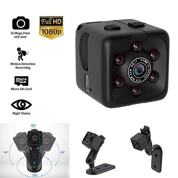 Mini Hidden Spy Camera Portable Small Full HD 1080P Wireless Cam with Night Vision and Motion Detection for Nanny/Housekeeper,Security Sports Action Camera for Home,Car,Office, Outdoor. (Color: black)