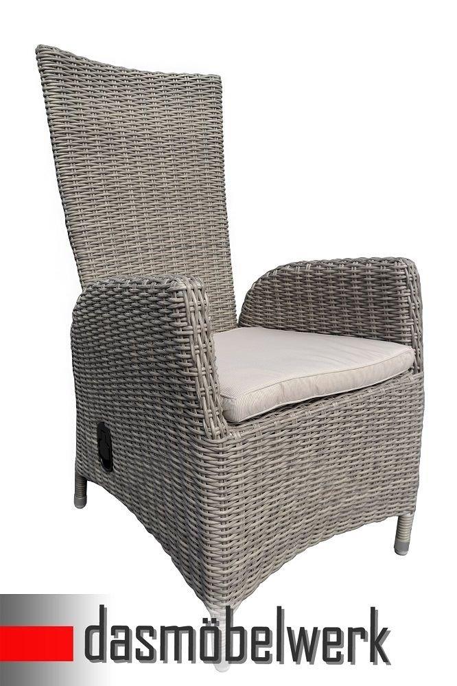 2 x Polyrattan Hochlehner mit Kissen Relax Sessel Gartenmöbel Gartenstuhl Grau online bestellen