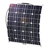 GIARIDE 50W 18V 12V Solar Panel Monocrystalline Cell Flexible Bendable Lightweight Waterproof Off-Grid Solar Power System Charger for RV, Camping, Boat, Caravans, Motorhome and 12V Battery Charging (Color: 18V 50W)