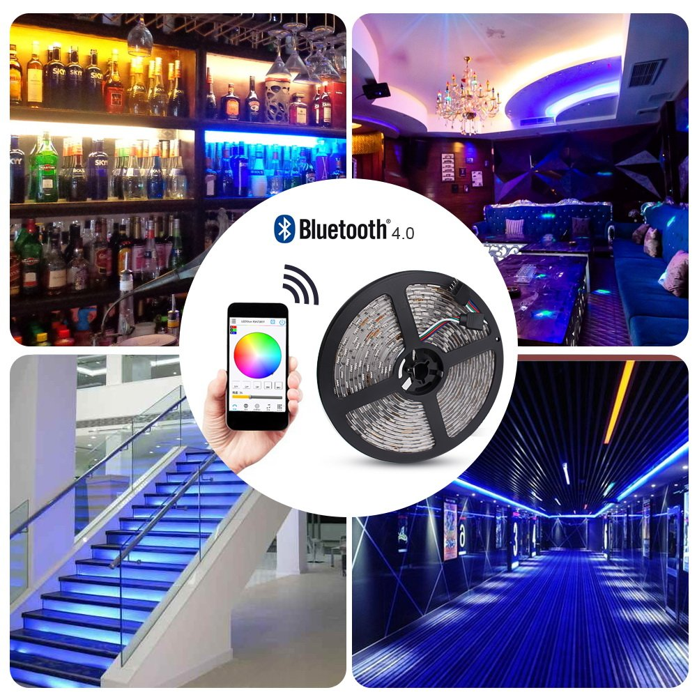 Solarphy 32.8ft (10m) RGB LED Strip Light Bluetooth Smartphone App Controlled 5050 LED Light Strip 600 LEDS Waterproof RGB Multicolored LED Lights Kit with 24V 5A Power Supply For iPhone Android