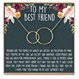 Dear Ava BFF Necklace, Long Distance, Friends Forever, 2 Interlocking Circles (Gold-Plated-Brass, NA)