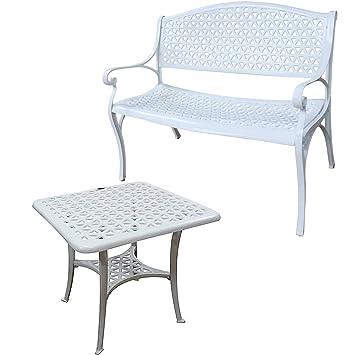 Lazy Susan-Banco con vaciador automático y Mesa baja cuadrada SANDRA-Conjunto de muebles de jardín en aluminio, aluminio, blanco, Pas de coussin