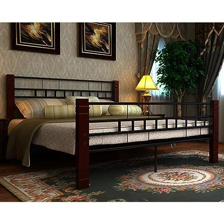 Cama roja y marrón de metal de 180 x 200 cm con colchón incluido