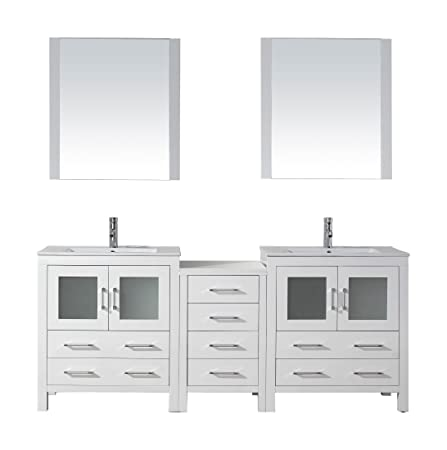 Virtu USA KD-70078-C-WH Modern 78-Inch Double Sink Bathroom Vanity Set with Polished Chrome Faucet, White