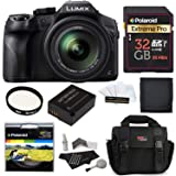 Panasonic LUMIX DMC FZ300 4K, Point and Shoot Camera with Leica DC Lens 24X Zoom Black + Polaroid Accessory Kit + 32GB Class 3 SD Card + Ritz Gear Bag + Spare Battery + Filter + Cleaning Kit + More (Tamaño: Basic Kit)