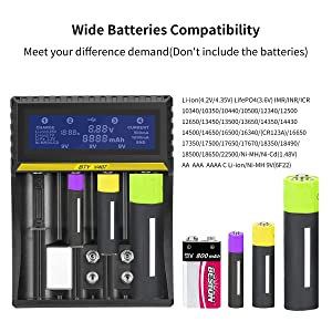 Battery Charger 18650 LCD S4 Smart 9V Charger for Rechargeable Batteries Ni-MH Ni-Cd 6F22 A AA AAA Li-ion 18650 26650 26500 22650 18490 17670 17500 17355 (Color: Battery Charger, Tamaño: Unisex Lot 3164)