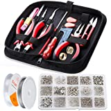 WinWonder Jewellery Making Kit,1275 pcs Jewellery Finding Set,17 pcs Jewellery Repair Tools for Making Bracelets,Earrings,DIY Handmade Etc (Tamaño: 29_17_7 cm)