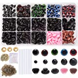 566Pcs 6mm-14mm Colorful Safety Eyes and Noses Set, Plastic Safety Eyes and Noses, 170pcs Plastic Safety Eyes and 110pcs Safety Noses with 280pcs Washers and 6pcs Glue Stick for Animal Stuffed Toys