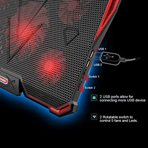 nobebird Laptop Cooler, Laptop Cooling Pad with 5 Quiet Fans for 12-17.3 Inch Laptop, Cooler Pad with LED Light, Dual 2 USB Ports, Adjustable Mount Stand Height Angle (5 Fans) (Color: red)