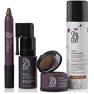Style Edit Root Touch Up Gift Set Brunette Collection For Black Hair - Includes Root Concealer Spray - Root Touch Up Powder - Root Cover Up Stick - Instant Hair Building Fibers (Color: Black, Tamaño: Gift Set)