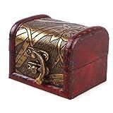 Small Vintage Jewelry Treasure Lock Storage Handmade Wooden Jewelry Case Box Random Color