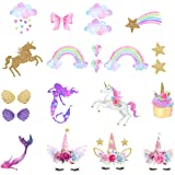 Unicorn Iron-On Transfer Iron Patches Rainbow Iron On Patches Mermaid Patches Eco-Friendly Material Set of 21 for DIY Decorative (Color: Glitter)