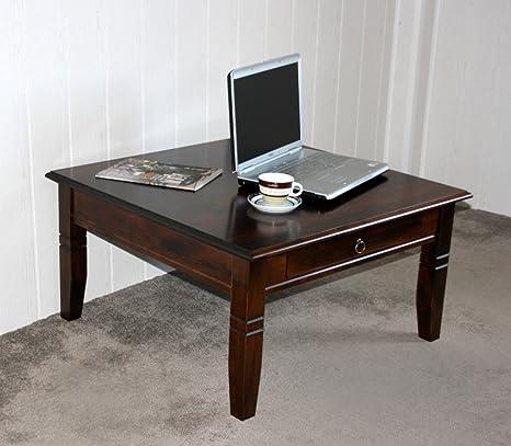 Massivholz Couchtisch Beistelltisch kolonial Sofatisch Tisch 85x85cm mit Schublade