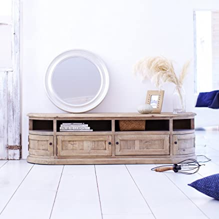 Mobile TV con 4ante a forma di legno Dekor, semicircolare, mango naturale, 148x 45x 50cms