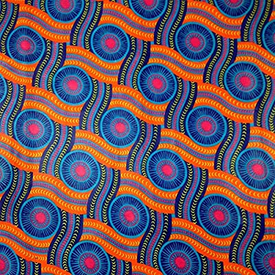 African Print Fabric Cotton Print Serpent 44'' wide By The Yard Blue Orange Red Purple