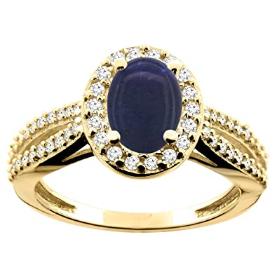 14ct Yellow Gold Natural Lapis Ring Oval 8x6mm Diamond Accent 7/16 inch wide, size Q