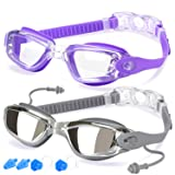 Swim Goggles, Pack of 2, Swimming Goggles for Adult Men Women Youth Kids Child, Triathlon Equipment, with Mirrored & Clear Anti-Fog, Waterproof, UV 400 Protection Lenses (Color: 8.Purple w/ Clear lens&Gray w/ Mirrored lens, Tamaño: Medium)