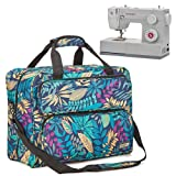 HOMEST Sewing Machine Carrying Case, Universal Tote Bag with Shoulder Strap Compatible with Most Standard Singer, Brother, Janome (Floral) (Color: Floral)