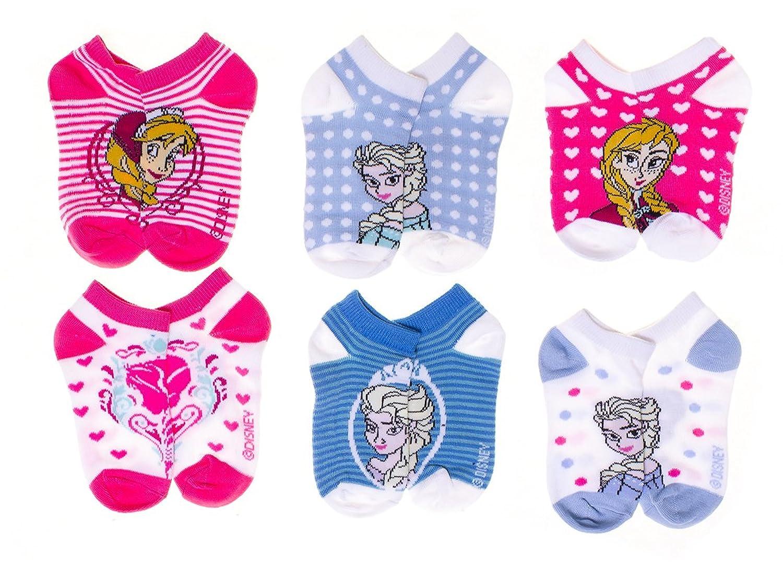 Disney Frozen Little Girls' Striped No Show Socks 6 pk