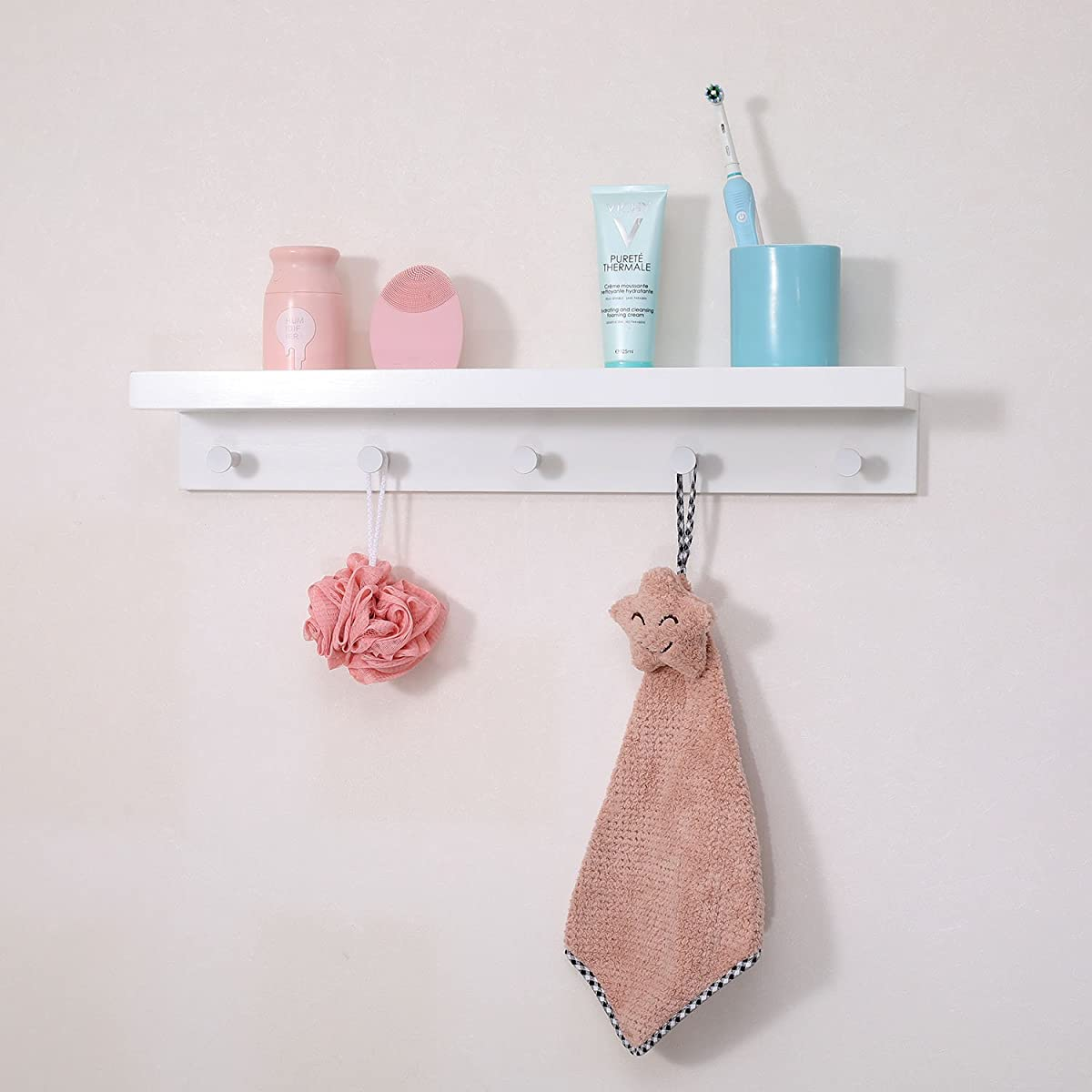 """Ollieroo Bamboo Wall Mounted Shelf, Coat Hooks Rack with 5 Alloy Hooks for Entryway, Bedroom, Kitchen, Bathroom, Length 24"""" (White)"""