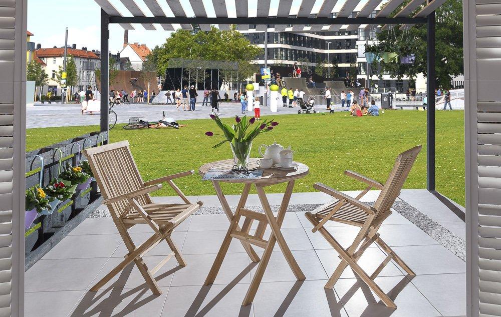 SAM® Teak-Holz Balkongruppe, Gartengruppe, Gartenmöbel 3tlg. Rondo, 2 x Klappstuhl mit Armlehnen + 1 x Tisch, zusammenklappbar, leicht zu verstauen