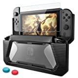 Compatible Nintendo Switch Case with Screen Protector,AISITIN TPU Protective Heavy Duty Cover Case for Nintendo Switch with Shock-Absorption and Anti-Scratch (Black) (Color: Black)