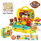 Deardeer Kids Play Dough Cinema Snack Bar Play Set 35 Pcs Pretend Play House Toy Kit with Douth and Moulds in a Portable Case (Color: Cinema)