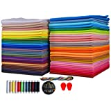 Cotton Quilting Fabric Assortments 60 Rainbow Color Craft Fat Fabric Bundle Squares Patchwork DIY Sewing Scrapbooking Quilting Dot Pattern,8