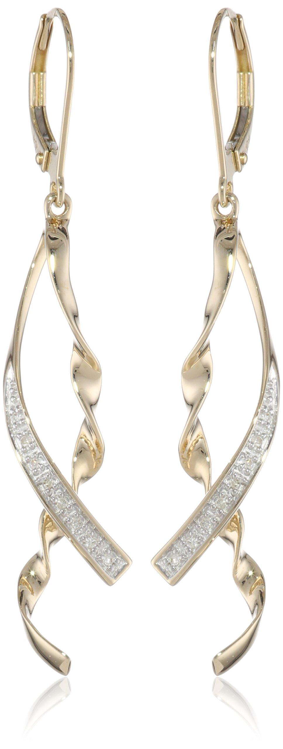 10k Yellow Gold Ribbon Diamond Earrings  image